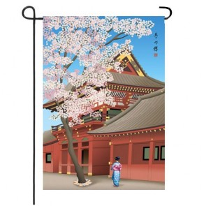 Sakura in Bloom Asian Inspired Garden Flag