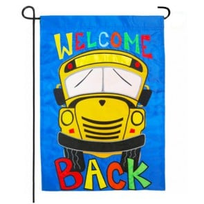 Welcome Back School Bus Fall Garden Flag