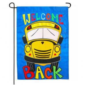 Welcome Back School Bus Garden Flag