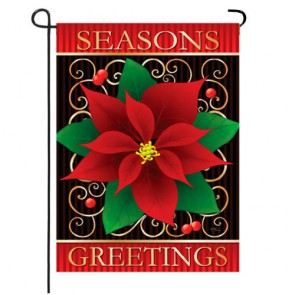 Season's Greetings Poinsettia Christmas Garden Flag