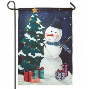 Snowman and Tree Garden Flag