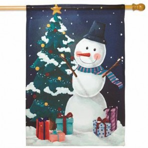 Snowman and Tree House Flag