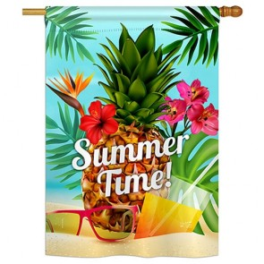 Summer Beach Time House Flag