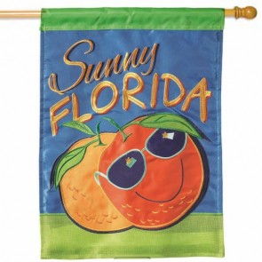 Sunny Florida Orange House Flag
