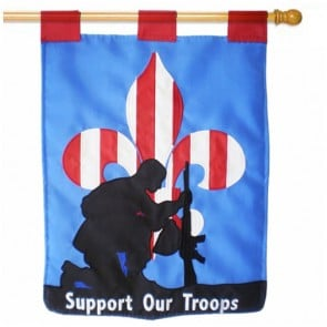 Support Our Troops Patriotic House Flag