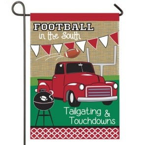 Tailgating In The South Fall Garden Flag
