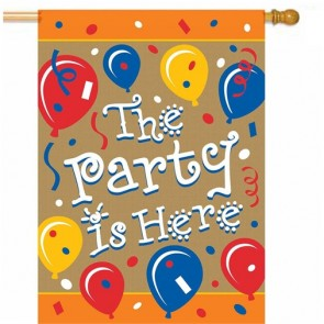 The Party is Here Burlap House Flag