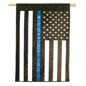 Thin Blue Line (Applique) House Flag