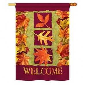 Three Fall Leaves House Flag