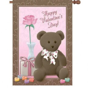 Valentine's Bear House Flag