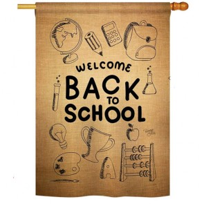 Welcome Back Burlap House Flag