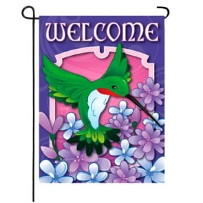 Welcome Hummingbird Spring and Summer Garden Flag