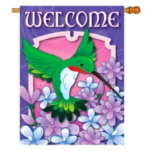 Welcome Hummingbird Spring House Flag