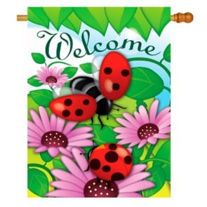 Welcome Ladybug Spring House Flag
